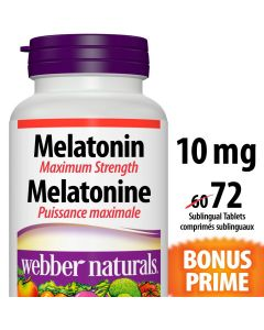 Webber Naturals® Melatonin Maximum Strength Quick Dissolve, 10 mg 72 sublingual tablets, BONUS! 20% More