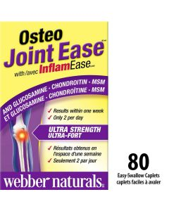 Webber Naturals® Osteo Joint Ease™ with InflamEase™ and Glucosamine Chondroitin MSM| 80 Easy Swallow caplets