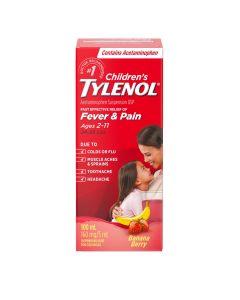 Tylenol Children's Medicine, Relief of fever & pain ages 2-11, Banana Berry Suspension liquid, Acetaminophen 160mg/5mL, 100mL