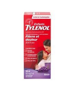 Tylenol Children's Medicine, Relief of fever & pain ages 2-11, Grape Suspension liquid, Acetaminophen 160mg/5mL, 100mL