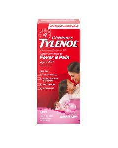 Tylenol Children's Medicine, Relief of fever & pain ages 2-11, Bubble Gum Suspension liquid, Acetaminophen 160mg/5mL, 100mL