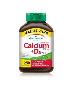 Jamieson Mega Cal Calcium 650 mg + D3 400 IU Value Pack| 250 capsules