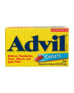 Advil Caplets 24 x 200mg Ibuprofen - Temporary Pain Reliever / Fever Reducer