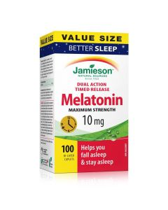 Jamieson Melatonin Maximum Strength Timed Release Dual Action Bi-Layer Caplets, 10 mg Value Pack| 100 bi-layer caplets