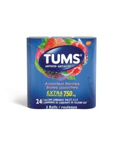 Tums Extra Strength Antacid for Heartburn Relief| 3 x 8 (24) Tablets Assorted Berries