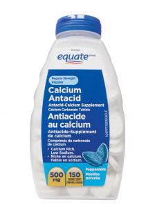 Equate Regular Strength Calcium Antacid, Peppermint 500mg| 150 CHEWABLE TABLETS