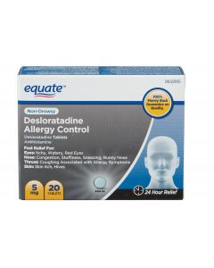 Equate Desloratadine Allergy Control Tablets| 20 Tablets, Non Drowsy, 24 hour Relief