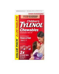 Children's Tylenol Chewables, Grape Flavour| For Fever and Pain, 2 x 20 Tablets