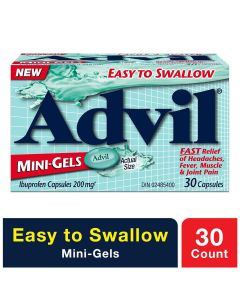 Advil Mini-Gels (30 Count), 200 mg ibuprofen, Temporary Pain Reliever / Fever Reducer