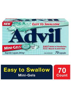 Advil Mini-Gels (70 Count), 200 mg ibuprofen, Temporary Pain Reliever / Fever Reducer