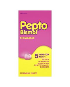 Pepto Bismol Chewable Tablets for Nausea, Heartburn, Indigestion, Upset Stomach, and Diarrhea Relief, Original Flavor| 24 Chewables Tablets