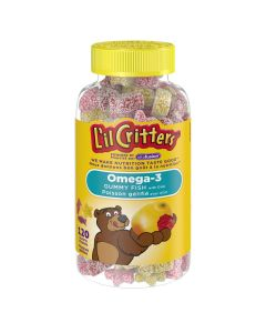 L'il Critters Omega-3 Gummy Fish DHA Gummy Vitamins| 120 gummies, natural flavour