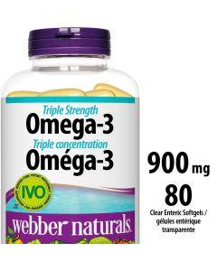 Webber Naturals® Triple Strength Omega-3, 900 mg| 80 Clear Enteric Softgels