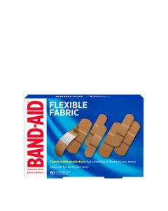 Band-Aid Flexible Fabric Adhesive Bandages, Family Pack| 80 Count, Assorted Sizes