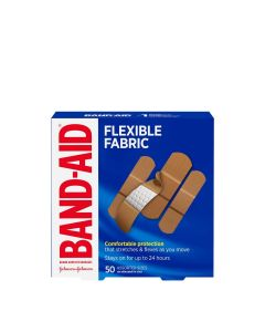 Band-Aid Flexible Fabric Adhesive Bandages, Family Pack| 50 Count, Assorted Sizes