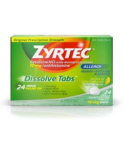 Zyrtec Allergy Relief Dissolve Tablets With Cetirizine Hcl Antihistamine, Citrus Flavored, 24 Count